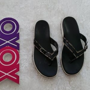 COACH Lyndsey black and white signature sandals